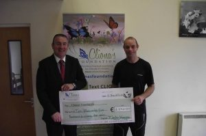 Martin presents a cheque to Cliona's Foundation