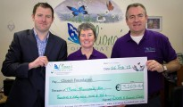 Derek Casey presents cheque to Cliona's Foundation