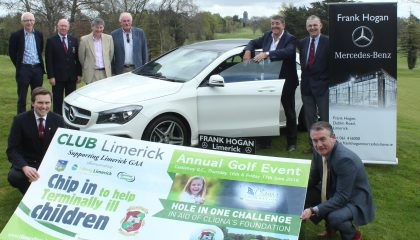 Officers of Limerick GAA and Castletroy Golf Club with Frank Hogan of Frank Hogan Motors and Brendan Ring of Cliona's Foundation at the Golf Classic Launch