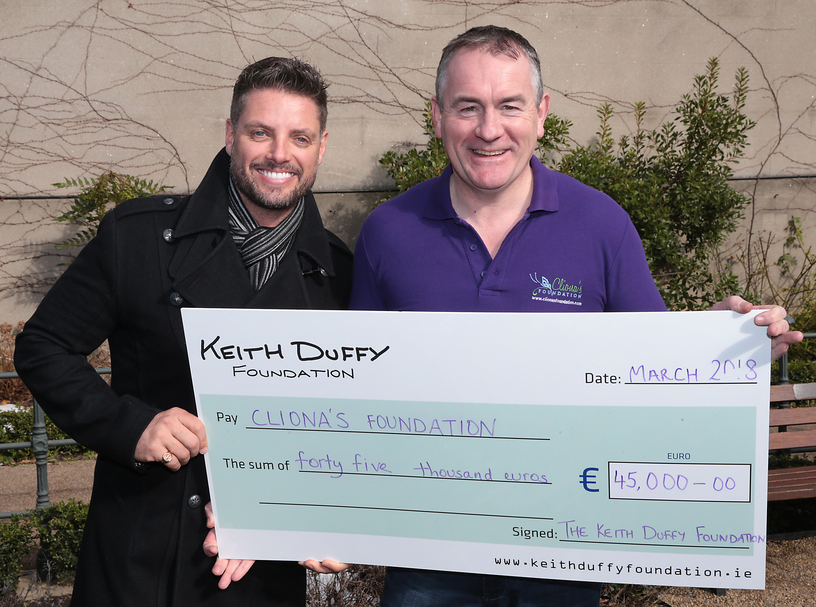 Keith Duffy and Brendan Ring raising funds for families with sick children. Charity Ireland.